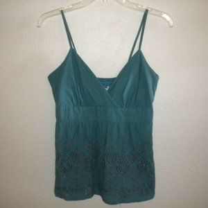Romy Women Size Medium Teal Eyelet Tank Top